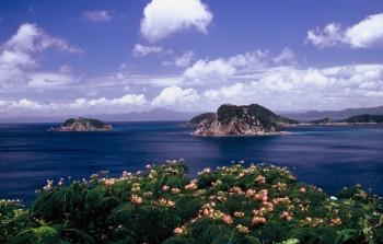 高崎山展望所から見る薩摩半島と崎ノ山一帯-南さつま海道八景-