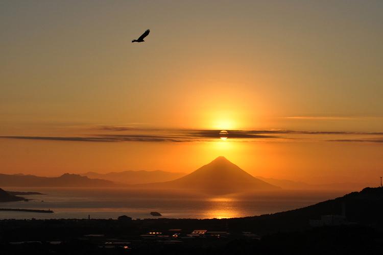 耳取峠展望所から見る枕崎市街地と開聞岳