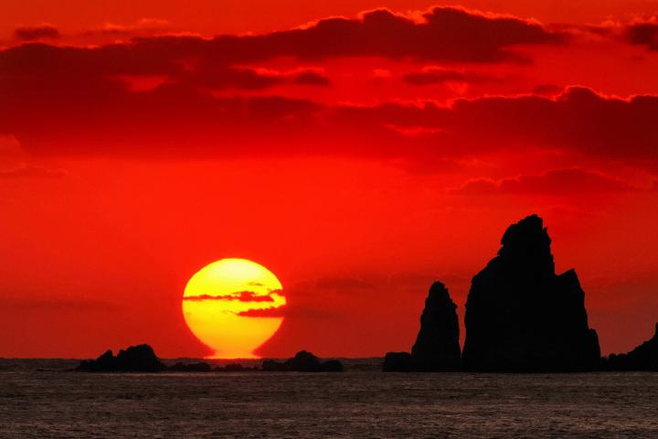 後浜展望所から眺める夕陽