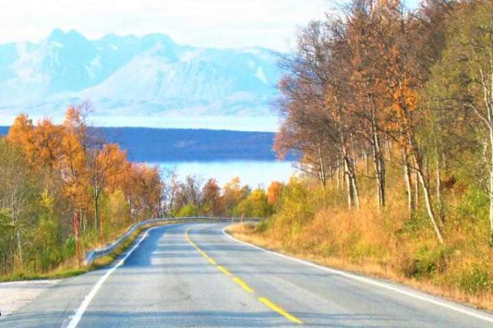 ノルウェー フィヨルド沿いの道路